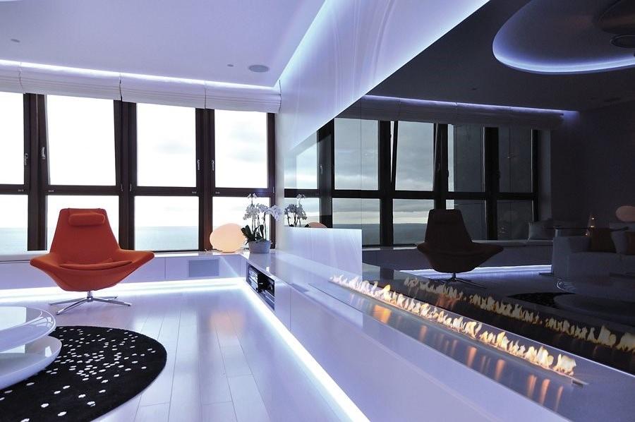ekologiczny kominek w nowoczesnym salonie architektura. Black Bedroom Furniture Sets. Home Design Ideas