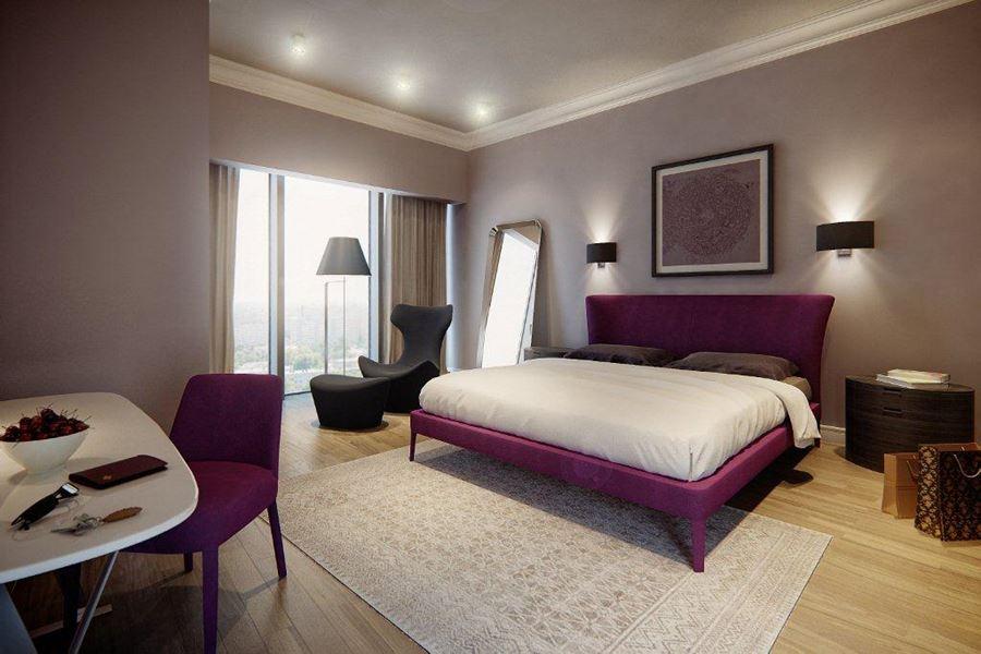 Beżowa sypialnia w nowoczesnym stylu - HomeSquare