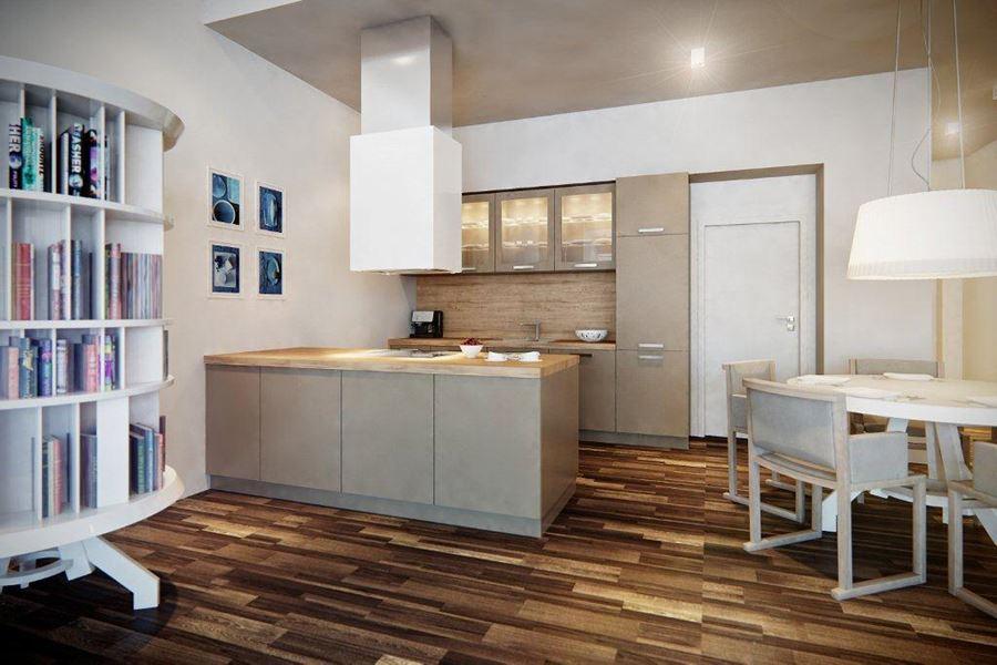 Biała kuchnia z małą jadalnią  Architektura, wnętrza