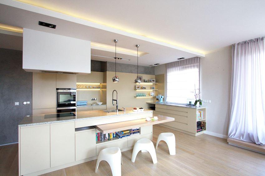 Duża kuchnia w salonie  Architektura, wnętrza, technologia, design  HomeSquare -> Kuchnia Z Wyspą Polączona Z Jadalnią