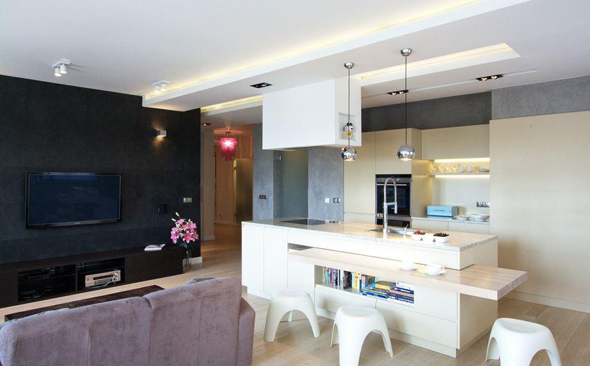 Duża kuchnia w salonie  Architektura, wnętrza   -> Kuchnie W Salonie