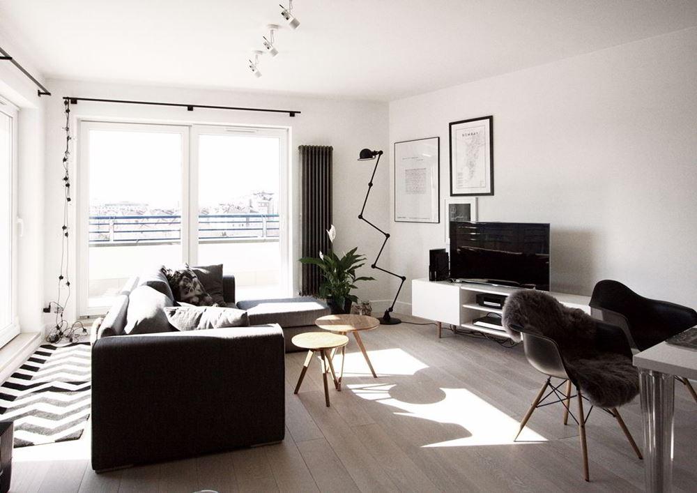 nowoczesny styl skandynawski w salonie po czonym z kuchni