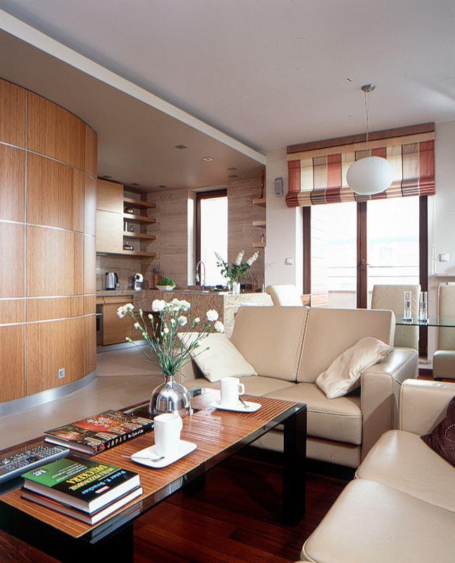 Drewno w nowoczesnym wnętrzu  HomeSquare -> Otwarta Kuchnia Jadalnia Salon