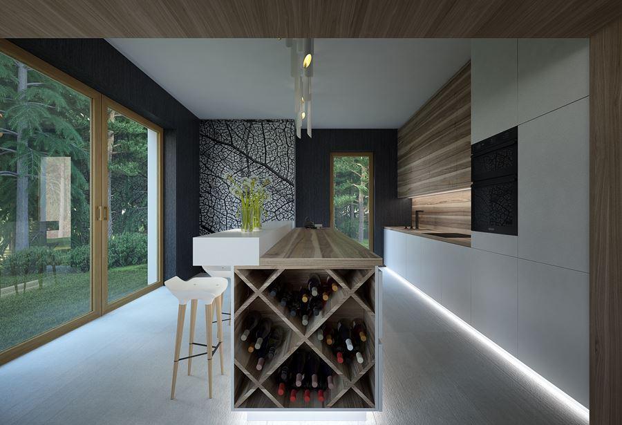 Długa kuchnia w nowoczesnym stylu  Architektura, wnętrza   -> Kuchnia Barek Wyspa