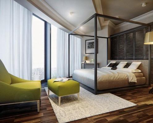 łóżko Z Baldachimem W Przestronnej Sypialni Inspiracja