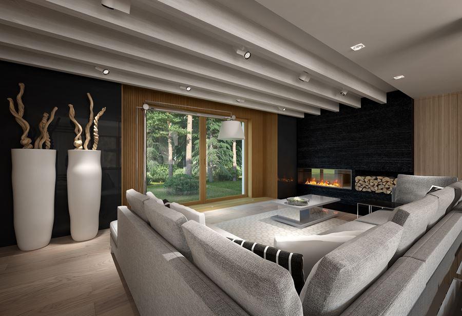 Projekt nowoczesnego salonu z kominkiem - Architektura, wnętrza, technologia, design - HomeSquare