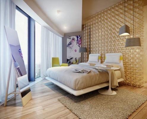 Złota sypialnia w nowoczesnym stylu