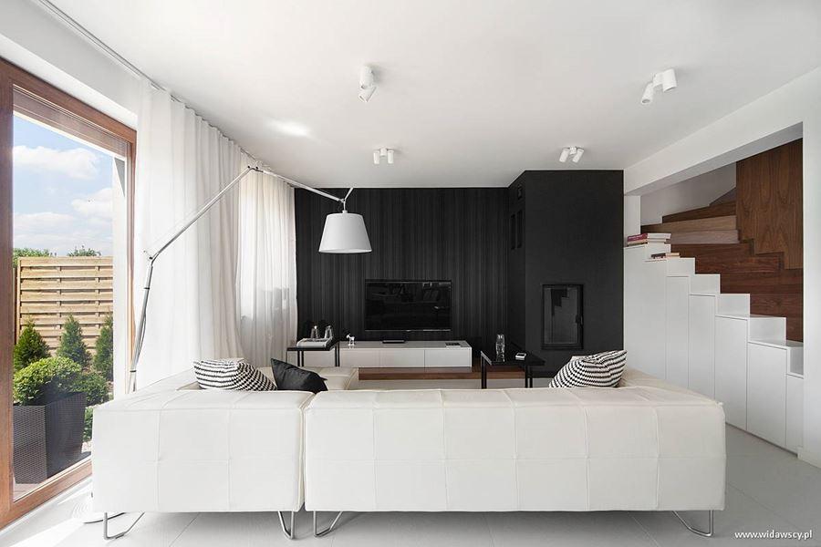 nowoczesna kuchnia z salonem w bieli - inspiracja