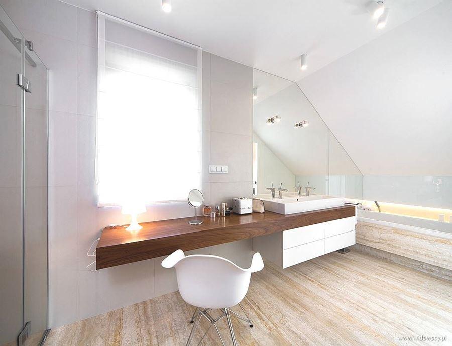 jasna sypialnia z pokojem k�pielowym architektura
