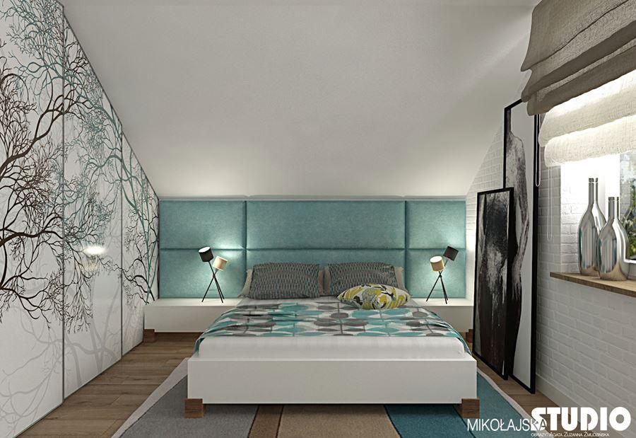 Nowoczesna sypialnia na poddaszu - Inspiracja - HomeSquare