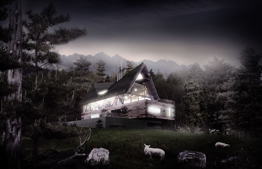 Polski dom nocą