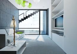 Projekt malego salonu w bieli