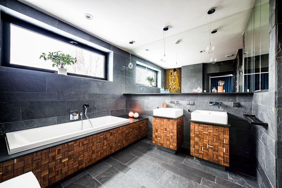 Szaro-brązowa łazienka