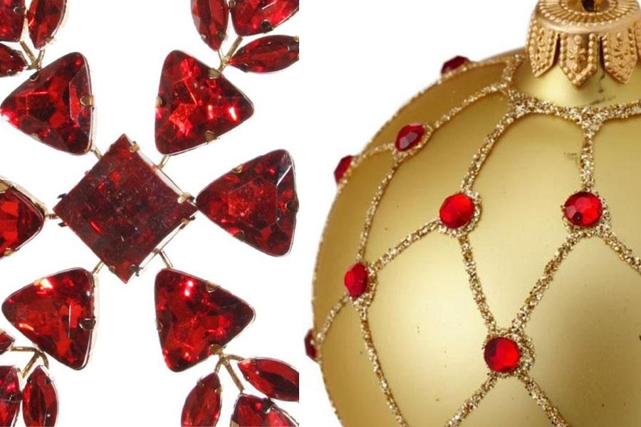 Czerowne i złote ozdoby świąteczne
