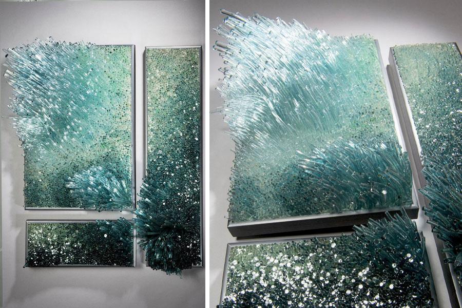 Rzeźby ścienne ze szkła