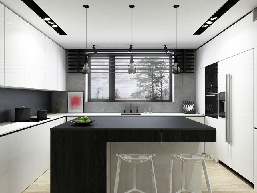 Czarno biała kuchnia połączona z jadalnią  Architektura   -> Kuchnia Biala Do Sufitu