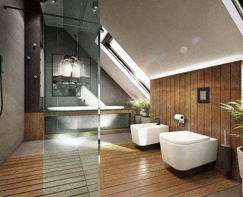 Pokój kąpielowy na poddaszu - pomysł na poddasze