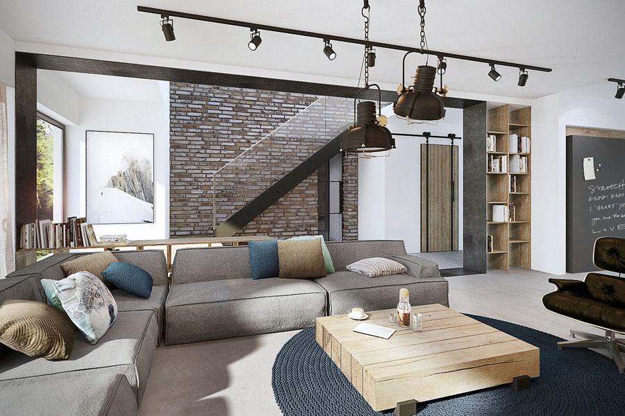 Projekt nowoczesnego salonu w kolorach ziemi for Oswietlenie w salonie