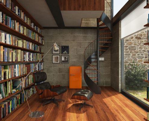 Projekt domowej biblioteki z antresolą