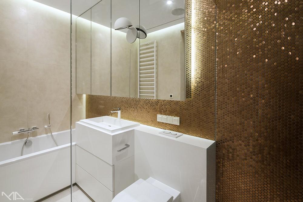 Biała łazienka Ze Złotą Mozaiką Homesquare