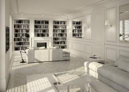 Biblioteka w białym salonie
