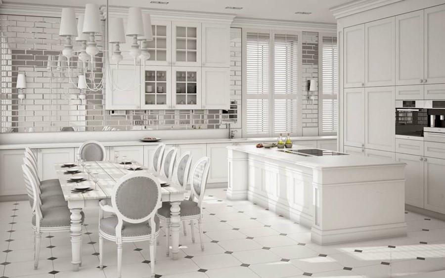 Projekt klasycznej kuchni w bieli