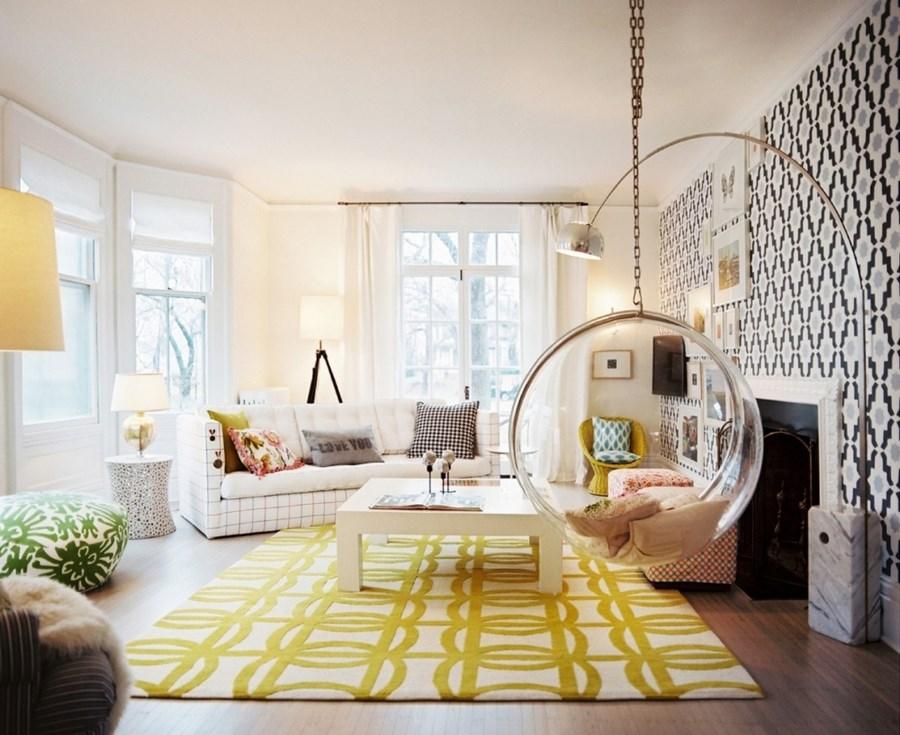 Stylowa lampa w salonie Arco Flos