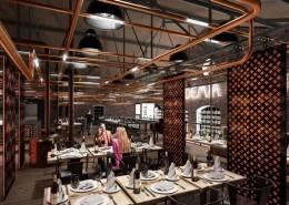 Wystrój industrialnej restauracji