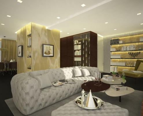 Pikowana sofa w bieli