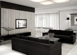 Czarno-biały salon z kącikiem telewizyjnym i jadalnią