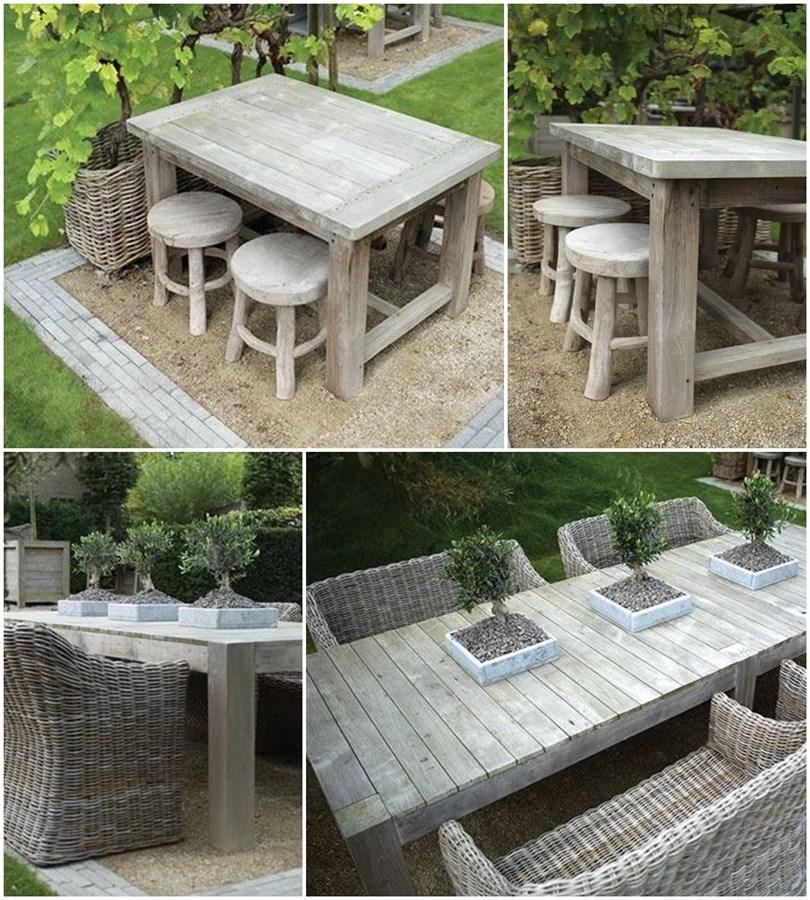 Solidny stół w ogrodzie