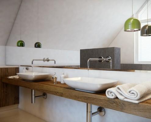 Duża łazienka na poddaszu dla dwóch osób