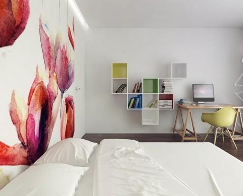 Duża nowoczesna sypialnia w bieli