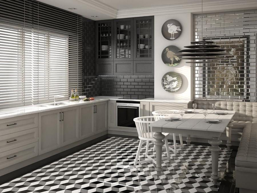 Eklektyczna kuchnia w czerni i bieli