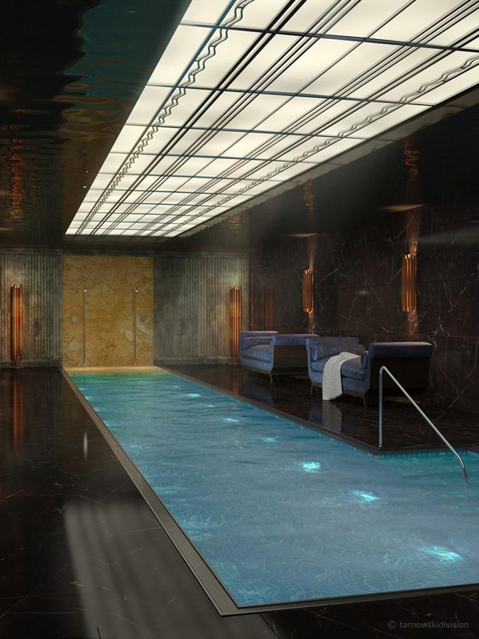 Luksusowy pokój kąpielowy z basenem