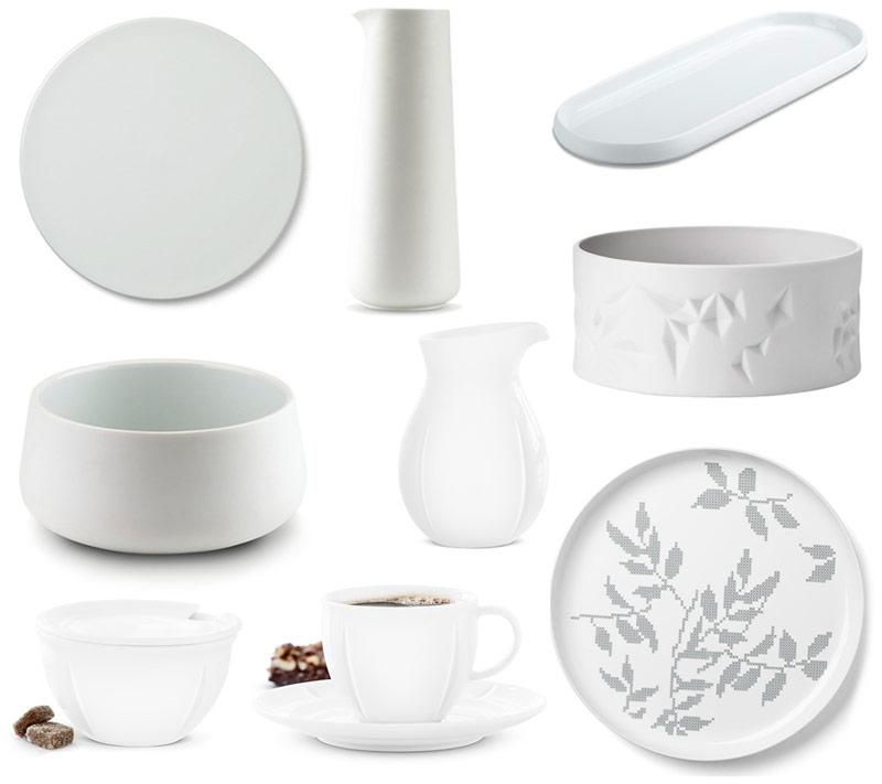 Nakrycie stołu z białej porcelany