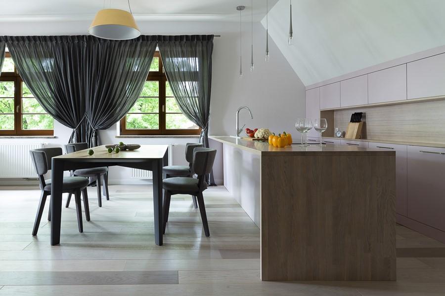 Nowoczesna kuchnia z wyspą w salonie  Architektura, wnętrza, technologia, de   -> Nowoczesna Kuchnia Polączona Z Jadalnią