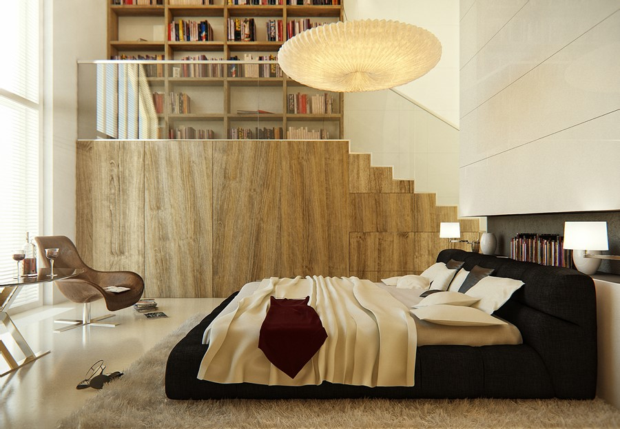 Duża sypialnia z biblioteką i antresolą
