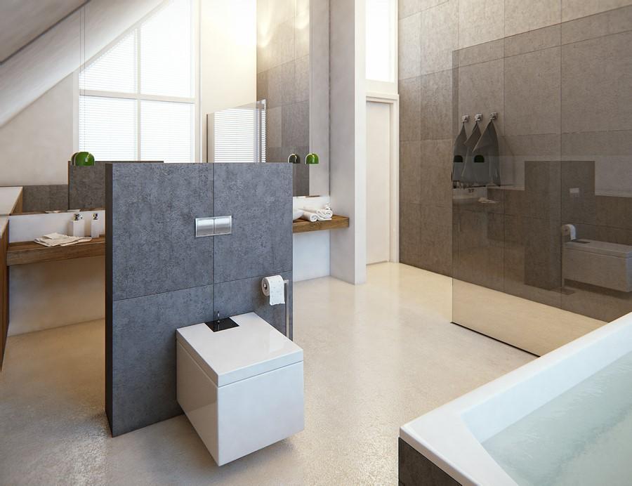 Duża łazienka na poddaszu - Architektura, wnętrza, technologia, design - HomeSquare