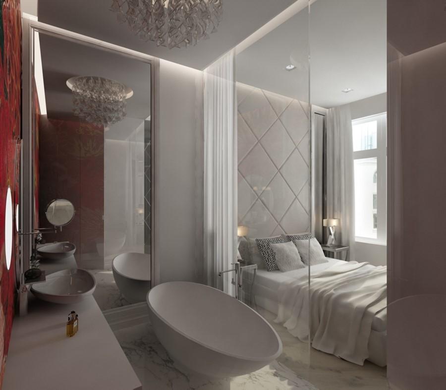 Otwarta łazienka w nowoczesnej sypialni w bieli