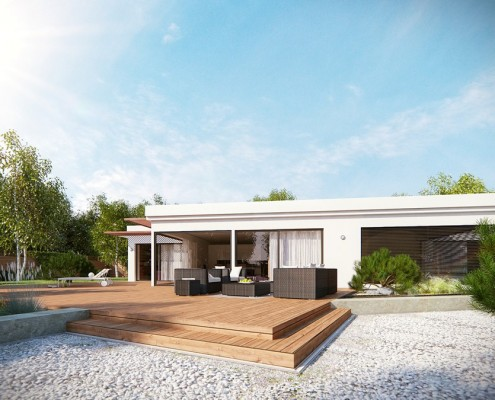 Nowoczesny projekt domu parterowego w bieli i drewnie