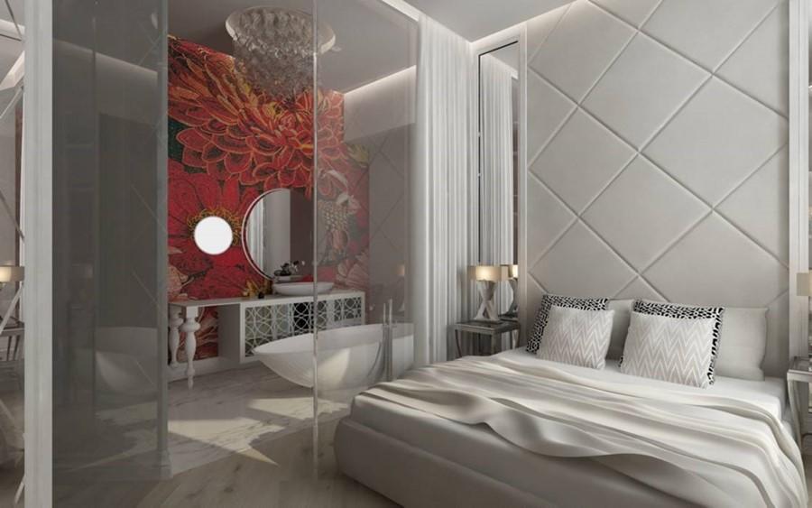 Projekt jasnej sypialni połączonej z łazienką