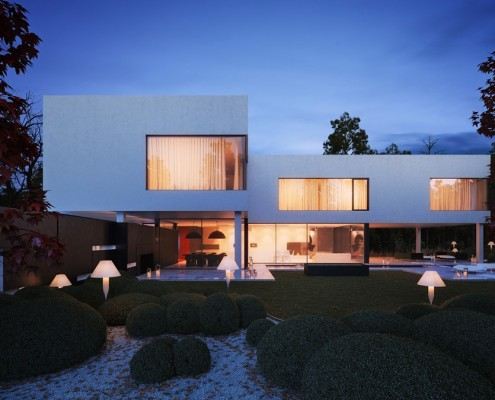 Projekt piętrowego domu z nowoczesnym ogrodem i nowoczesnym oświetleniem