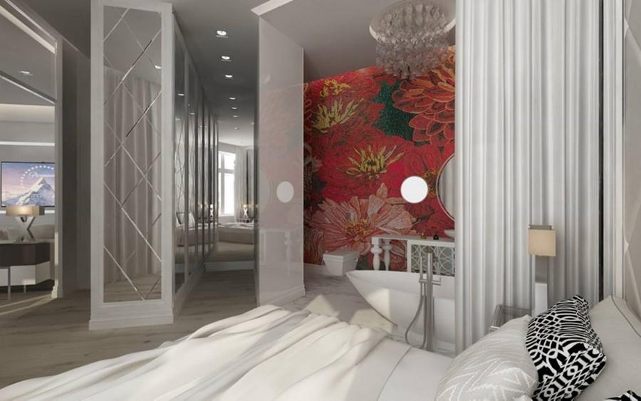 Sypialnia otwarta na przedpokój i łazienkę