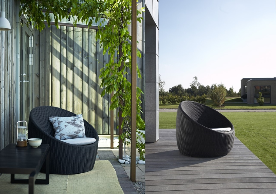 ogrodowy fotel o krągłych ksztach