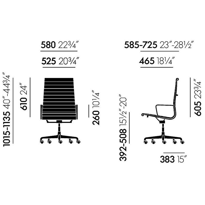 Wymiary Aluminium Chair EA 119