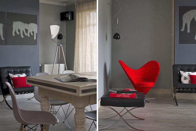 Czerwony heart cone chair w salonie