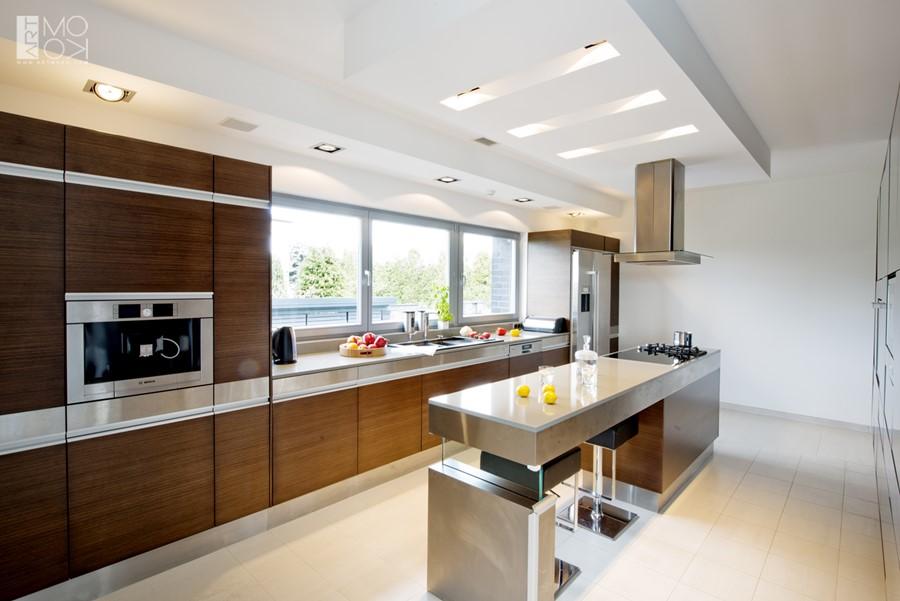 Duża kuchnia z podłużną wyspą  Architektura, wnętrza   -> Funkcjonalna Kuchnia Z Wyspą