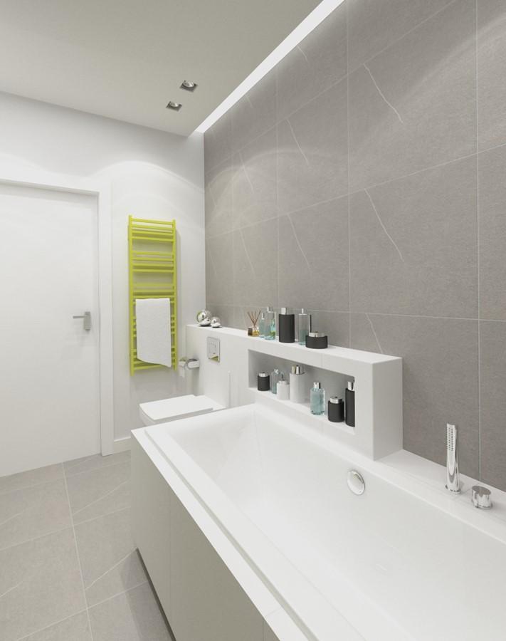 Szara duża wanna w nowoczesne łazience