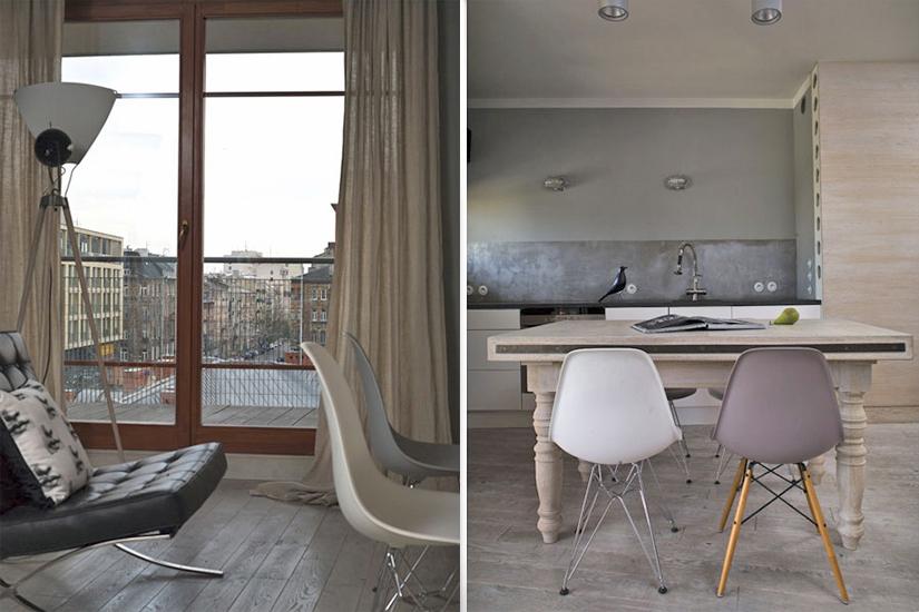 Krzesła Eames chairs w jadalni